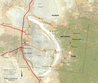 Lake Mungo Map - Mungo National Park
